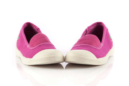 footgear: Shoes for little girls isolated on white background Stock Photo