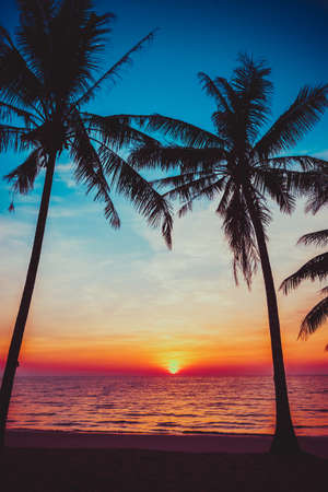 sunset clouds: sunset tropical beach.  Beautiful sunset Stock Photo