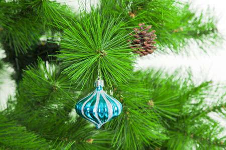 christmas tree ball: Christmas ball on fir branches Stock Photo