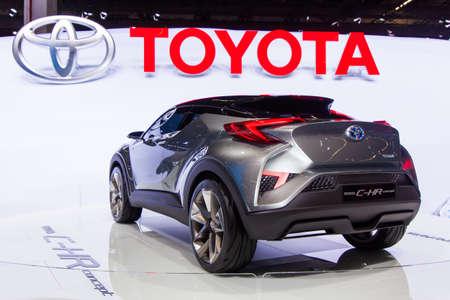chr: FRANKFURT, GERMANY - SEPTEMBER 23, 2015: Frankfurt international motor show (IAA) 2015. Toyota C-HR Concept - world premiere Editorial