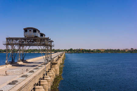 voile: Sluice gate on the Nile river, Egypt.  watergate near Esna