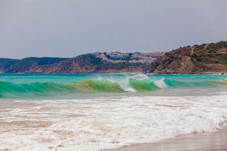 region of algarve: The beach on Algarve coast.  Continental Europes most South-western point. Portugal Algarve Region Sagres
