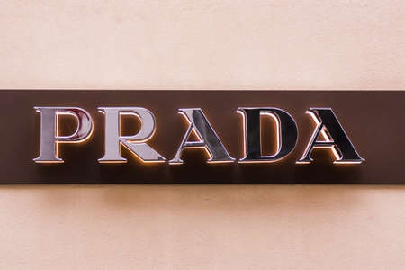 prada: FRANKFURT, GERMANY - Oktober 24 : Exterior view of Prada Shop on Oktober 24, 2015 in Frankfurt, Germany. Prada is an Italian luxury fashion house and was founded in 1913