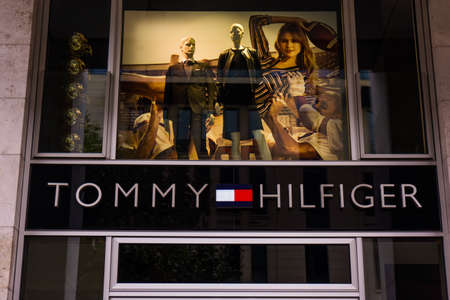 tommy: FRANKFURT, GERMANY - Oktober 24, 2015: Detail of the entrance to a Tommy Hilfiger store. Tommy Hilfiger is an American fashion, apparel, design, fragrance retail company, offering consumers low end products