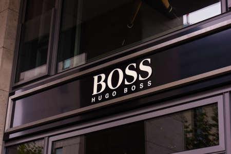 hugo: FRANKFURT, GERMANY - OKTOBER 24, 2015: Hugo Boss shop in Frankfurt, Germany. Hugo Boss is German luxury fashion and style house founded in Metzingen at 1924. Editorial