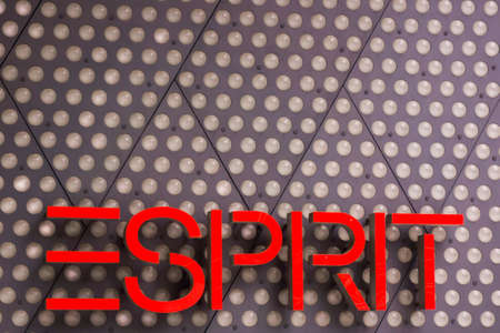 housewares: Frankfurt,Germany - Oktober 24, 2015: Esprit logo on a facade. Esprit is a manufacturer of clothing, footwear, accessories, jewellery and housewares under the Esprit label Editorial