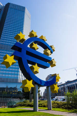 central bank: Euro sign at European Central Bank headquarters in Frankfurt. Editorial