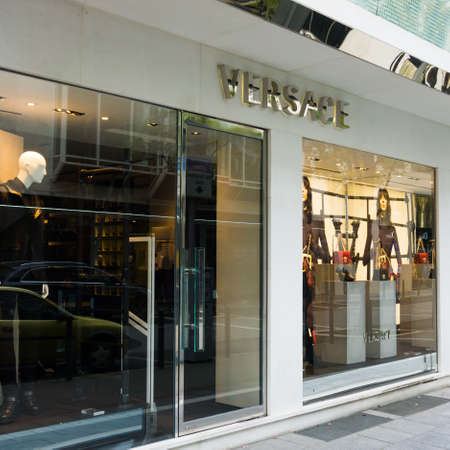 awnings windows: FRANKFURT,GERMANY - OKTOBER 24, 2015: Versace shop in Frankfurt ,Germany.Versace is a world famous fashion brand. Versace is an Italian fashion company and trade name founded by Gianni Versace in 1978.