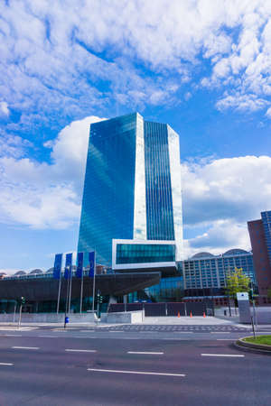 volatility: FRANKFURT AM MAIN, GERMANY - SEPTEMBER 19, 2015: new modern building of the European Central Bank, ECB in Frankfurt Editorial