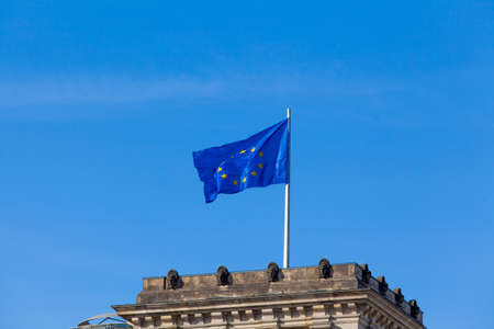 euro area: Flag of European Union.  EU Flag towards blue sky Stock Photo
