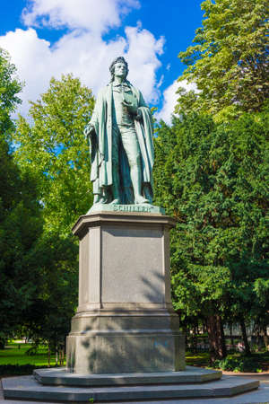 dramatist: Schiller monument in Frankfurt am Main year 1864.  Statue of Johann Christoph Friedrich von Schiller