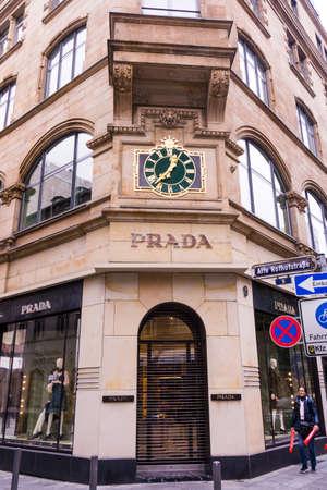 luxury goods: FRANKFURT, GERMANY - Oktober 24, 2015: Prada Logo. Prada is an Italian fashion label specializing in luxury goods for men and women