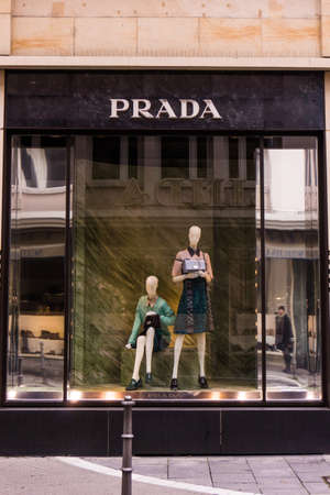 luxury goods: FRANKFURT, GERMANY - Oktober 24, 2015: Prada boutique. Prada is an Italian fashion label specializing in luxury goods for men and women