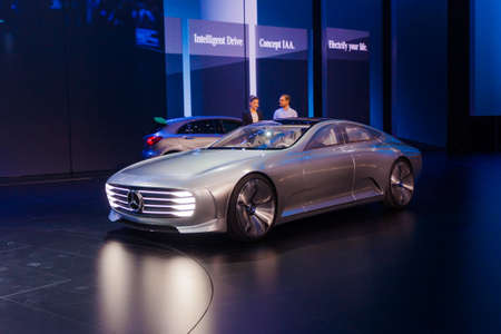 iaa: FRANKFURT - SEPTEMBER 23: Mercedes-Benz Concept IAA shown at the 66th IAA on September 23, 2015 in Frankfurt, Germany.(Intelligent Aerodynamic Automobile) - world premiere