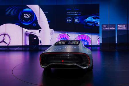 aerodynamic: FRANKFURT - SEPTEMBER 23: Mercedes-Benz Concept IAA shown at the 66th IAA on September 23, 2015 in Frankfurt, Germany.(Intelligent Aerodynamic Automobile) - world premiere