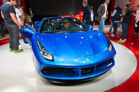 iaa: FRANKFURT, GERMANY - SEPTEMBER 23, 2015: Frankfurt international motor show (IAA) 2015. Ferrari 488 GTS Spider.