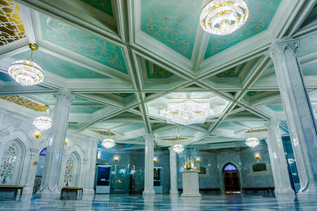 recently: KAZAN, RUSSIA - DECEMBER 01, 2014: Interiors of famous Qol Sharif Mosque - historical building recently renovated, located in Kremlin