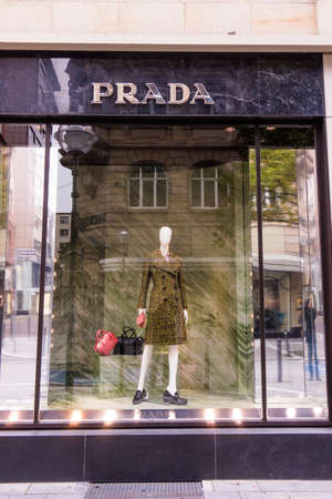 prada: FRANKFURT, GERMANY - Oktober 24, 2015: Prada Logo. Prada is an Italian fashion label specializing in luxury goods for men and women