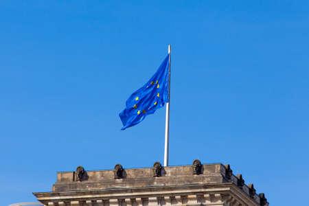eu flag: Flag of European Union.  EU Flag towards blue sky Stock Photo