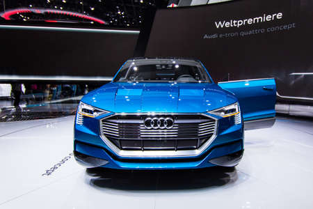 messe: FRANKFURT, GERMANY - September 23, 2015: Audi e-tron quattro concept presented on the 66th International Motor Show in the Messe Frankfurt Editorial