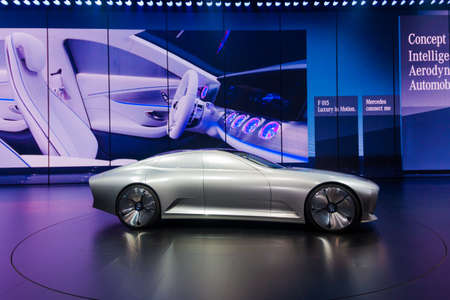 iaa: FRANKFURT - SEPTEMBER 23: Mercedes-Benz Concept IAA shown at the 66th IAA on September 23, 2015 in Frankfurt, Germany.(Intelligent Aerodynamic Automobile) - world premiere