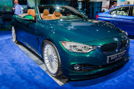 messe: FRANKFURT, GERMANY - SEPTEMBER 23, 2015:  Alpina B6 Bi-Turbo presented on the 66th International Motor Show in the Messe Frankfurt. BMW ALPINA B6 Bi-Turbo Edition 50 Coupe