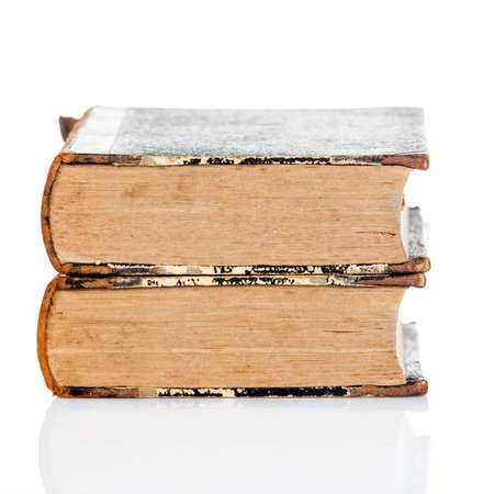 very dirty: old books on white background.  Vintage books Stock Photo