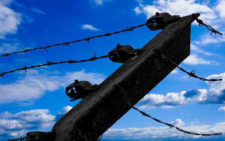 tenon: Barbed wire on blue sky background.