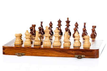 wooden chessboard.  Chess battle.  Chess game