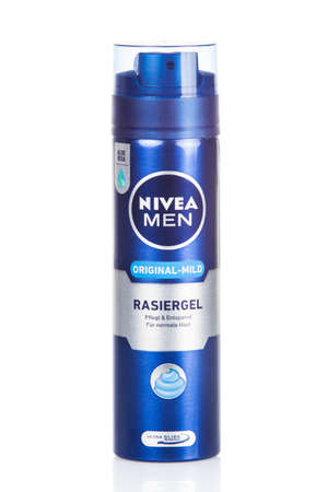 ag: DUSSELDOR, GERMANY - NOVEMBER 24, 2015: Can of Nivea Men. Shaving Gel.  Nivea brand owned by the German company Beiersdorf AG. Editorial