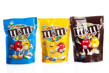 DUSSELDORF, GERMANY - NOVEMBER 24, 2015. M&Ms Chocolate candies, produced by Mars, Incorporated. M&Ms have been one of the most famous candy treats in the world since 1941.