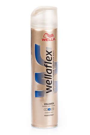 hairspray: DUSSELDOR, GERMANY - NOVEMBER 24, 2015: Can of spray Wellaflex Hairspray . Produced by Wella, Germany