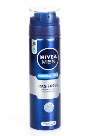 ag: DUSSELDOR, GERMANY - NOVEMBER 24, 2015: Can of Nivea Men. Shaving Gel.  Nivea brand owned by the German company Beiersdorf AG. Editorial