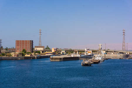 sluice: Sluice gate on the Nile river, Egypt.  watergate near Esna