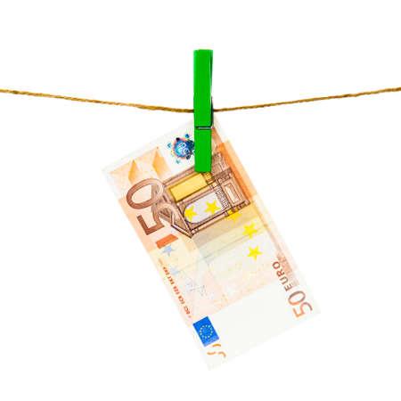 seemingly: Euro notes on clothesline.  Money laundering euros