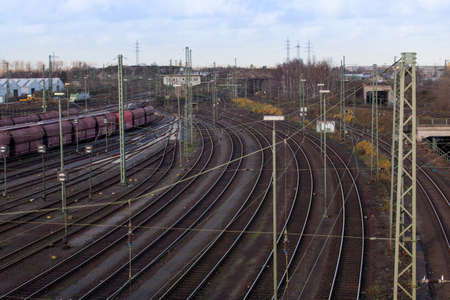 railway tracks: railway tracks.  train tracks Stock Photo