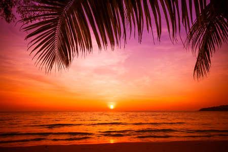 zonsondergang en strand. Prachtige zonsondergang boven de zee Stockfoto