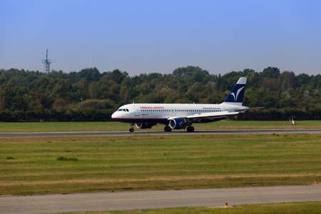 airways: DUSSELDORF, GERMANY September 06, 2014: Hamburg Airways Airbus A320. On 22 December 2014 the Hamburg Airways was suspended. Hamburg Airways presented on 14 January 2015, an application for insolvency