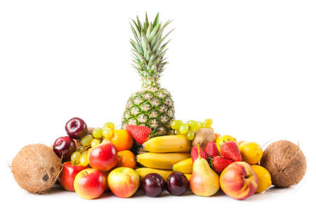 fruits exotiques isolé sur blanc. Fruits frais. différents fruits frais