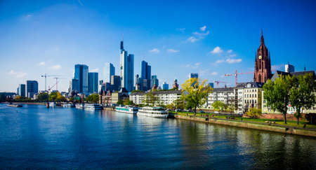Skyline of Frankfurt, Germany.  Frankfurt am Main city