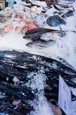 fish on ice: raw fish background.  Fresh fish on ice Stock Photo