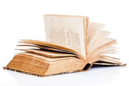 handbooks: open book on white background. old book