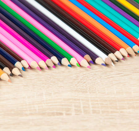 educational tools: Color pencils. colored pencils on the wooden table