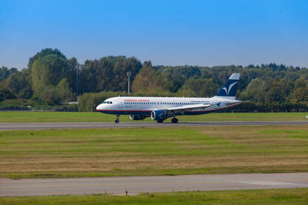 insolvency: DUSSELDORF, GERMANY September 06, 2014: Hamburg Airways Airbus A320. On 22 December 2014 the Hamburg Airways was suspended. Hamburg Airways presented on 14 January 2015, an application for insolvency