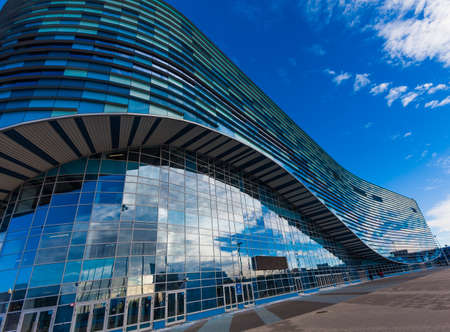 stadia: SOCHI, RUSSIA -JANUARY 16, 2016: Iceberg Skating Palace at Olympic Park in Adlersky District