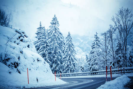winter road in snow.  mountain road with snow