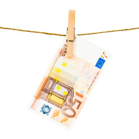 2 50: Euro notes on clothesline.  Money laundering euros