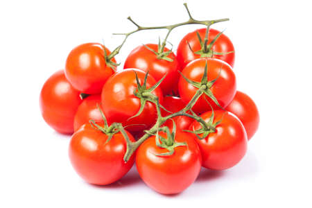 vines: tomatoes on the vine isolated on white Stock Photo