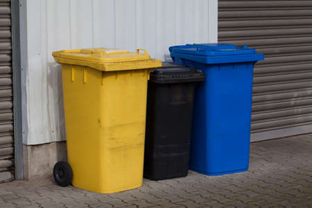 segregate: Bins For Collection Of Recycle Materials. Plastic bins. Garbage containers