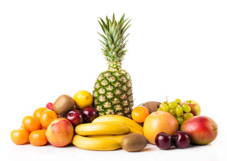 Fruits background.Healthy manger. fruits exotiques isolé sur blanc